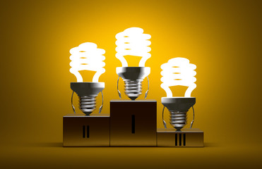 Glowing spiral light bulb characters on podium