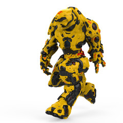 yellow robot walking