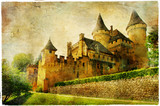 Fototapeta fairy castles of France - artistic picture in painting style