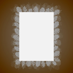 Sheet of paper with leaves, oak, vector illustration