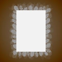 Sheet of paper with leaves, oak, vector illustration