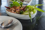 "Hory Duck, Thai food named ""Larb Ped"""