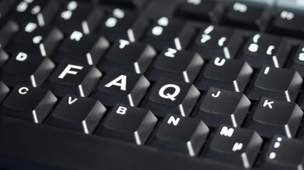 Computer Tastatur mit FAQ Text - 16 zu 9 - g1083