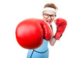 Boxer - fitness woman boxing wearing boxing glove