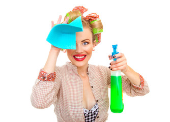 Funny housewife with rag / wipe and cleaning spray