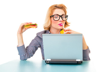 Funny business woman holding sandwich