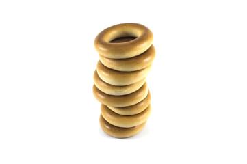 stack of baked crispy cracknels isolated against white
