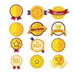 Gold laurel wreath emblem award, vector illustration eps10