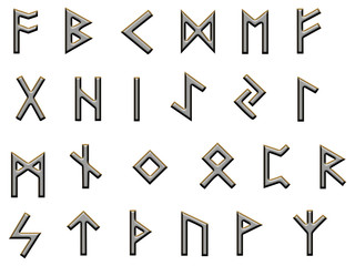 metallic runes illustration on white