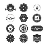 Fototapety Set of vintage retro coffee badges and labels