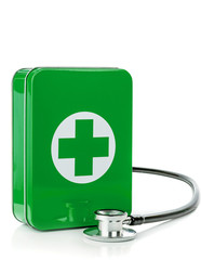 A first aid box and stethoscope on a white background