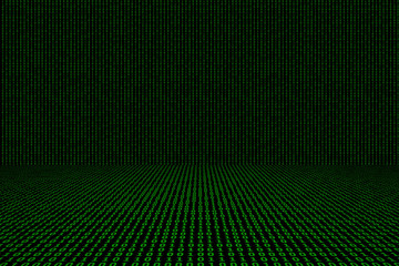 Binary computer code green  background