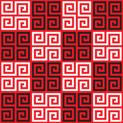Seamless Checkered Oriental Greek Key Pattern