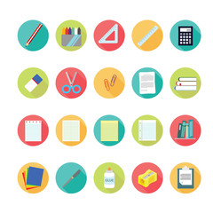 lat icons set of back to school concept. Vector illustration eps