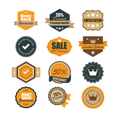 Set of vintage badges. Vintage premium quality labels. Vector
