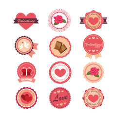 Set of stickers and badges for Valentine's day