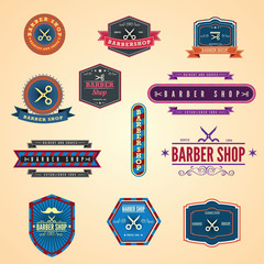 Set of vintage barber shop graphics and icons. Illustration eps1