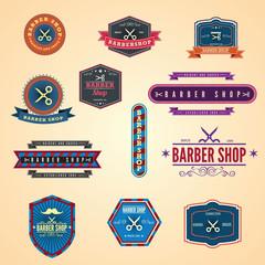Set of vintage barber shop graphics and icons. Illustration eps1