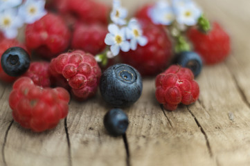 Raspberries and blueberries with flowers on wooden stump