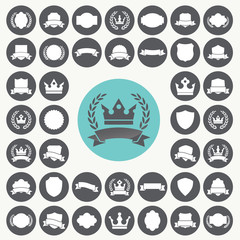 Heraldic elements icons set. Illustration eps10