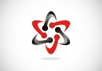 2D circle star swirl vector logo