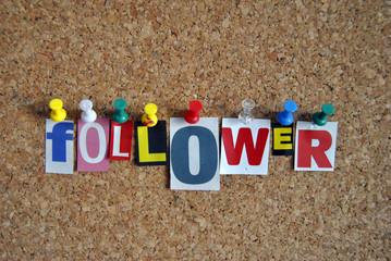 Slogan Pinnwand Follower / Pinboard Slogan Follower
