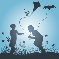 kids playing with kites