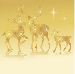 rendeer deer golden silhouette