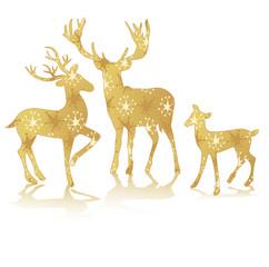 rendeer deer bambi golden silhouette