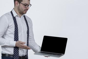 Anweisung am Laptop