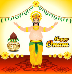 Happy onam background with King mahabali