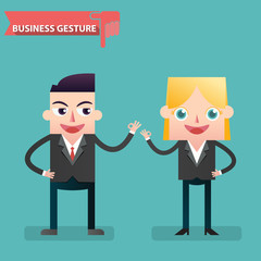 Business people giving hand making ok sign