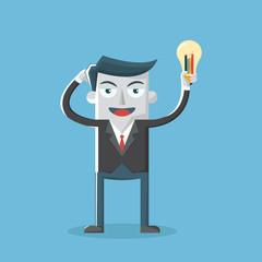Businessman with idea light bulb, chart