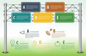 Highway sign infographic elements