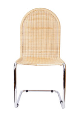 Stuhl aus Chromrohr und Peddigrohr-Geflecht