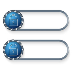 set of two buttons with arrows and padlock