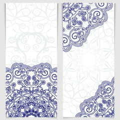 Set of invitations in the style of Chinese porcelain painting.