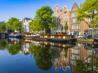 Amsterdam, Netherlands. Houseboats at the coast of the channel