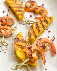 skewers of shrimp and mango