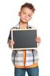 Boy with small blackboard
