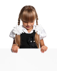Little girl with white blank