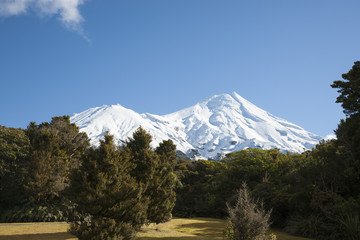 Snow capped Mount Egmont.