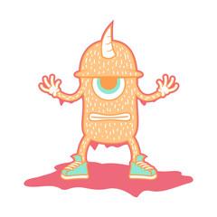 Orange monster. vector illustration