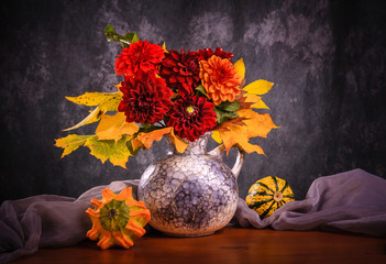 Still life with autumn chrysanthemum flowers in a vase.