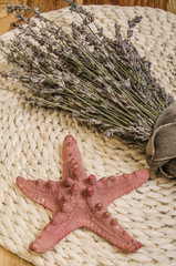 summer treasures: lavender, seashells, starfish