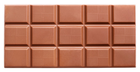 Milk chocolate bar isolated on white with clipping path
