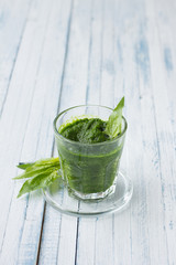 Smoothie spinach and cucumber with fresh spinach leaves