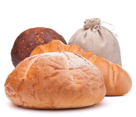fresh bread and flour sack isolated on white background cutout