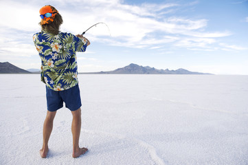 American Fisherman Ice Fishing White Lake
