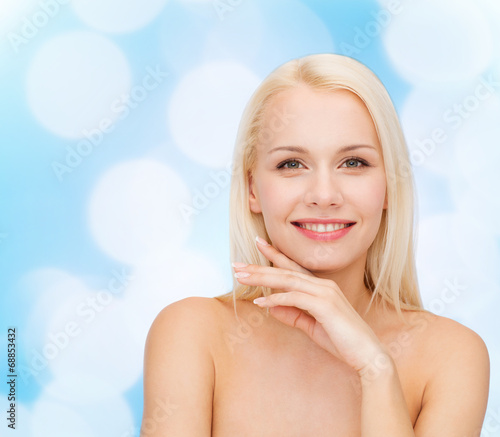 canvas print picture face and hands of beautiful woman